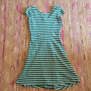 Old Navy green striped cap sleeve dress